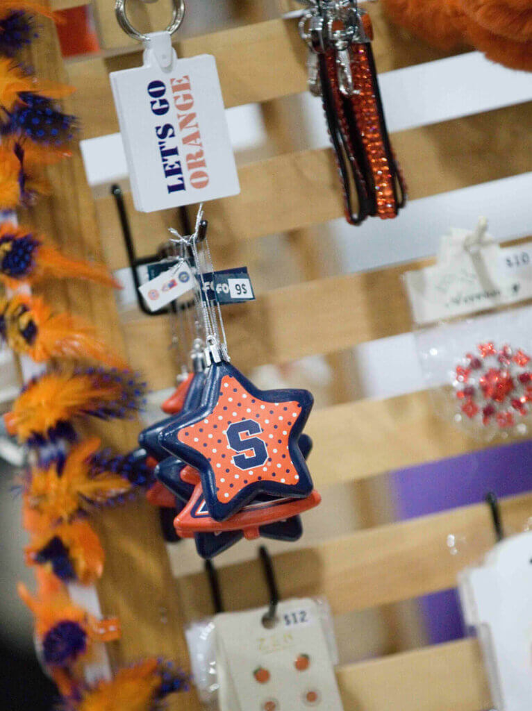 A hanging Syracuse University ornament for sale at the Buy Local Bash
