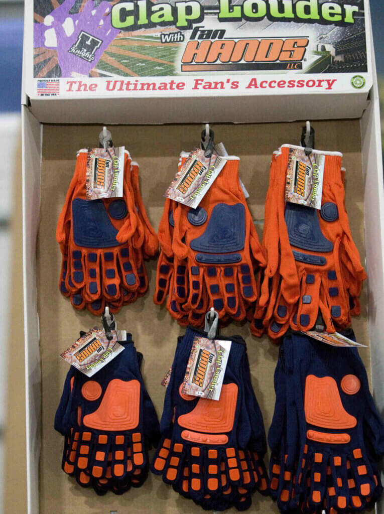 Loud clappy gloves for sale at the Buy Local Bash